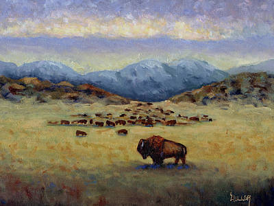 Buffalo Painting - Legend by Linda Hiller