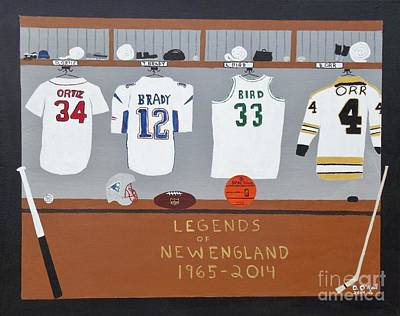 Larry Bird Painting - Legends Of New England by Dennis ONeil