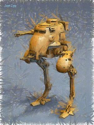 Cannon Painting - Legged Battlebot - Pa by Leonardo Digenio