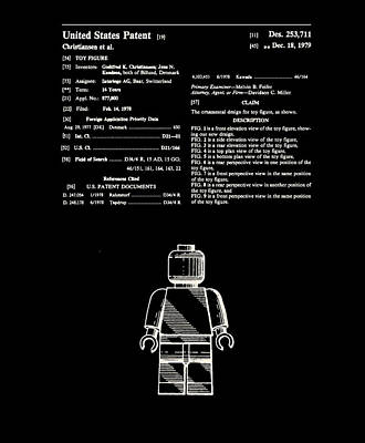 Lego Man Patent 1979 Print by Claire Doherty