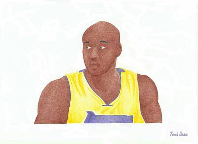 La Lakers Drawing - Lemar Odom by Toni Jaso