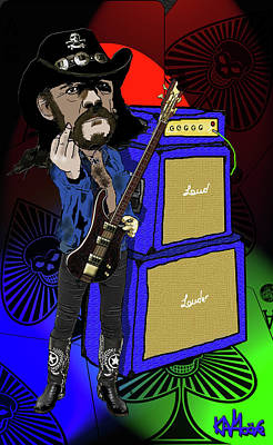 Ace Of Spades Drawing - Lemmy by Kev Moore