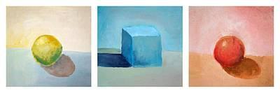 Red Cube Painting - Lemon Cube Sphere by Michelle Calkins
