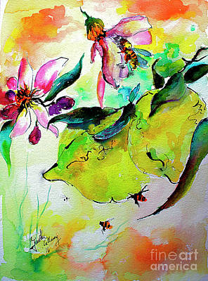 Fruit Tree Art Painting - Lemon Garden Blossoms And Bees by Ginette Callaway