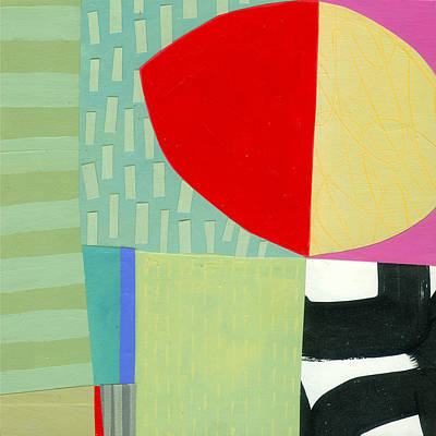 Abstract Collage Painting - Lemon Love Again by Jane Davies