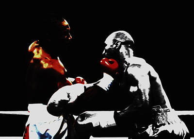 Lennox Lewis And Holyfield 3f Print by Brian Reaves
