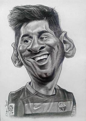 Messi Drawing - Leo Messi Caricature by Szepesi Tamas