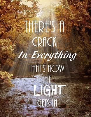 Cracks Digital Art - Leonard Cohen Quote by Jessica Jenney