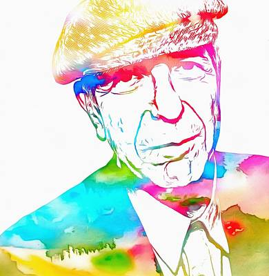 Author Mixed Media - Leonard Cohen Watercolor Paint by Dan Sproul