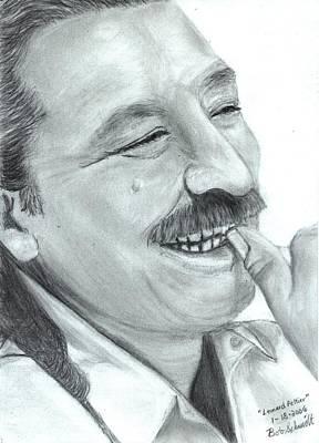 Kansas City Drawing - Leonard Peltier by Bob Schmidt