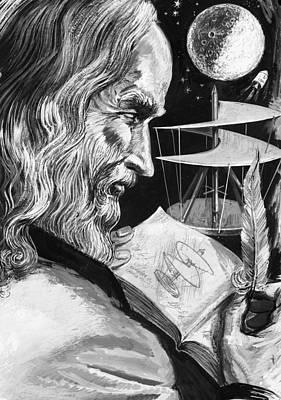 Helicopter Drawing - Leonardo Da Vinci by English School
