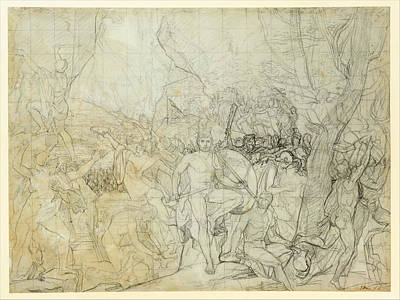 Jacques-louis David Drawing - Leonidas At Thermopylae by Jacques-Louis David