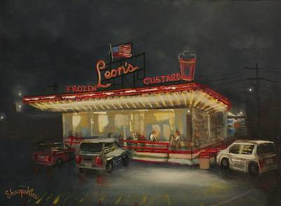 City At Night Painting - Leon's Frozen Custard by Tom Shropshire