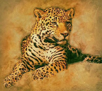 Earthtone Painting - Leopard 3 by Jack Zulli
