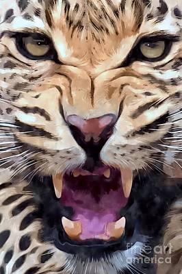 Growling Painting - Leopard   by Brian Raggatt