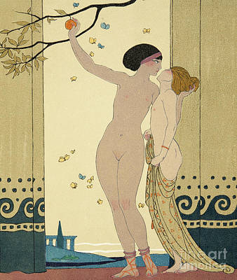 Moth Drawing - Les Conseils by Georges Barbier