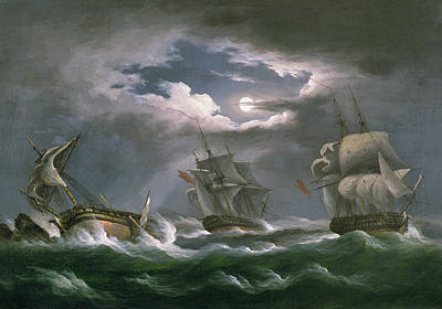 Of Pirate Ships Painting - Les Droits De L'homme by Thomas Luny