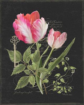 Upscale Painting - Les Fleurs Magnifiques En Noir - Parrot Tulips Vintage Style by Audrey Jeanne Roberts