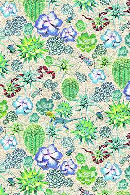 Reptiles Drawing - Les Jardins Majorelle  Succulents by Jacqueline Colley
