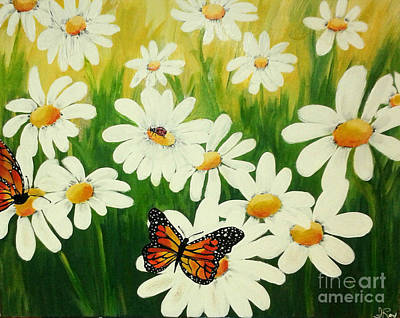 Butterfly Painting - Les Marguerites by Anne Roy