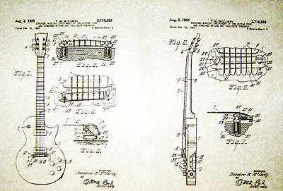 Les Paul Guitar Patent 1955 Print by Bill Cannon