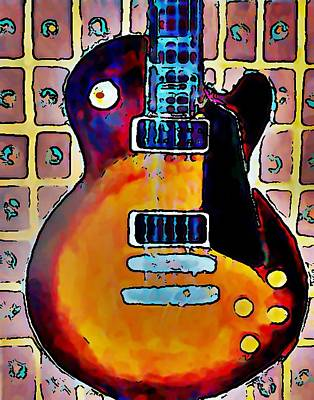 Rollingstone Painting - Les Paul - Print by Gregory McLaughlin