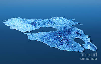 Digital Digital Art - Lesbos Island Topographic Map 3d Landscape View Blue Color by Frank Ramspott