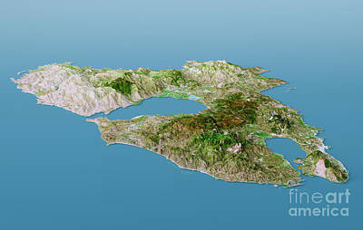 Lesbos Island Topographic Map 3d Landscape View Natural Color Print by Frank Ramspott