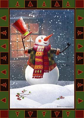 Christmas Cards Digital Art - Let It Snow by Kristina Vardazaryan