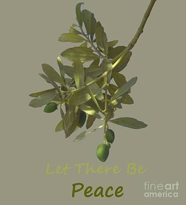 Let There Be Peace Olive Branch And Text  Print by Ilan Rosen