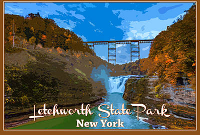 Vintage Style Photograph - Letchworth State Park Vintage Travel Poster by Rick Berk