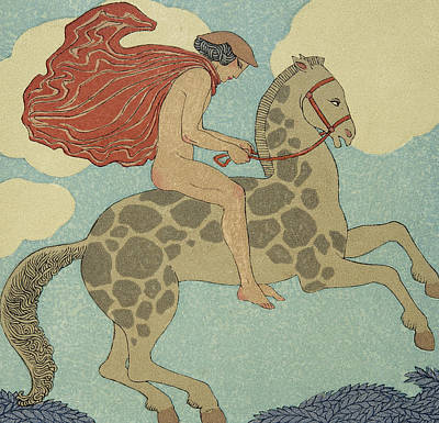 Stallion Drawing - L'etranger by Georges Barbier