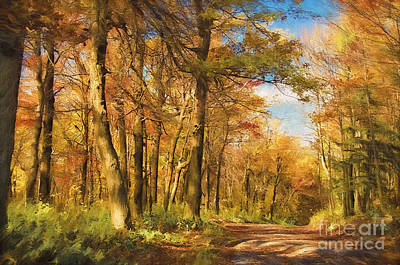 Autumn Scene Digital Art - Let's Go For A Walk by Lois Bryan
