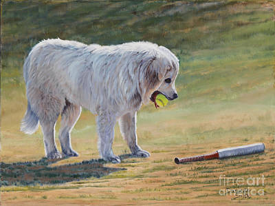 Dog Playing Ball Painting - Let's Play Ball - Great Pyrenees by Danielle Smith