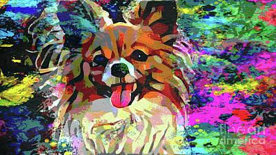 Papillon Dog Painting - Let's Play by Jon Neidert
