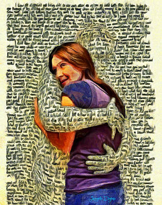 Girl Painting - Letter Hug by Leonardo Digenio