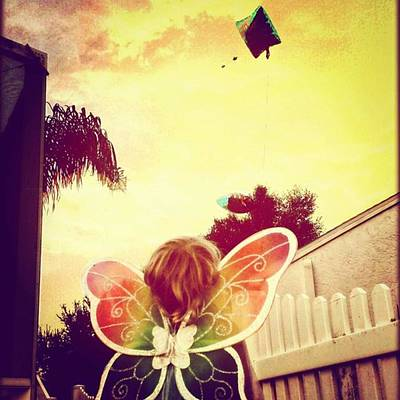 Fairy Photograph - Letting Go Of Your Birthday Balloons So by Peggy Hoefner