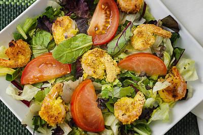Lettuce Photograph - Lettuce Tomato Herb Salad With Shrimp by Donald  Erickson