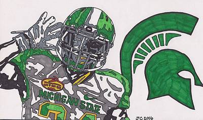 Michigan State Drawing - Le'veon Bell Spartan Edition by Jeremiah Colley