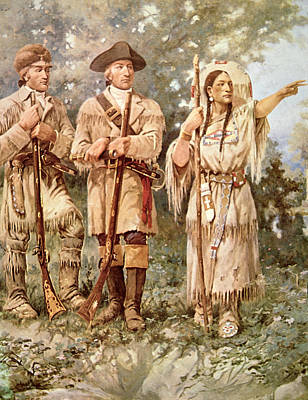 Lewis And Clark With Sacagawea Print by Edgar Samuel Paxson