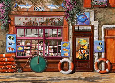 Colorful Tropical Fish Painting - Lezione Di Acquario by Guido Borelli
