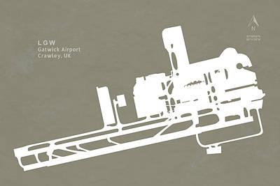 Lgw Gatwick Airport In Crawley United Kingdom Runway Silhouette Print by Jurq Studio