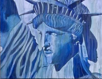 Liberty In Blue Print by Valerie DiMartino
