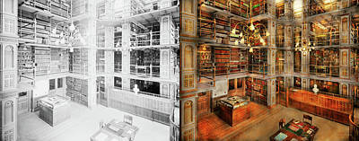 Library - A Literary Classic 1905 - Side By Side Print by Mike Savad