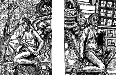 Pen And Ink Drawing Drawing - Library Angels by Elizabeth Hoskinson