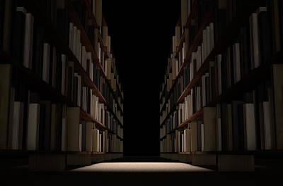 Library Bookshelf Aisle Print by Allan Swart
