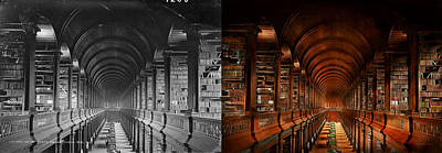 Library - The Long Room 1885 - Side By Side Print by Mike Savad