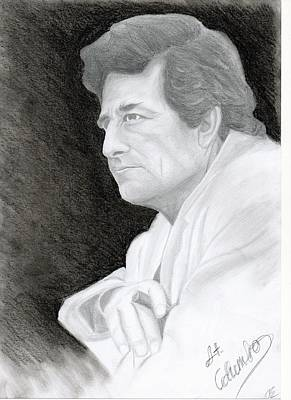 Peter Falk Drawing - Lieutenant Columbo by Eniko Tanyi