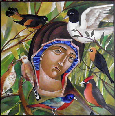 Byzantine Icon Painting - Life And Birds by Mary jane Miller