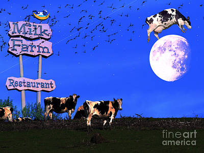 Cow Mixed Media - Life At The Old Milk Farm Restaurant After The Lights Went Out For The Last Time In 1986 by Wingsdomain Art and Photography